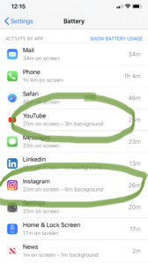 Apps running in the background